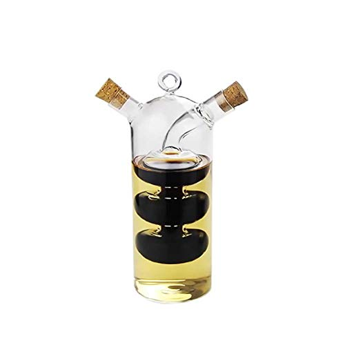 myonly Flip Olive Oil Dispenser Bottle Olive Oil Dispenser and Oil Sprayer Shock-Proof Vinegar Bottle for Cooking Set Innovative Dual Glass Thermal Resistance Oil Dispenser