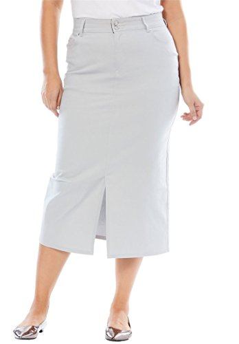 (Jessica London Women's Plus Size Tummy-Control Denim Maxi Skirt - Soft Grey, 24 W)