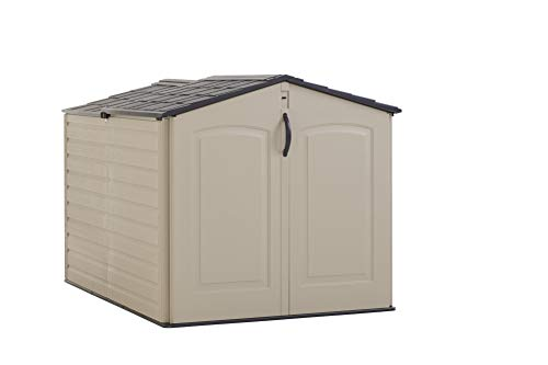 Rubbermaid Roughneck Storage Shed, Slide-Lid Faint Maple and - Horizontal Shed Utility