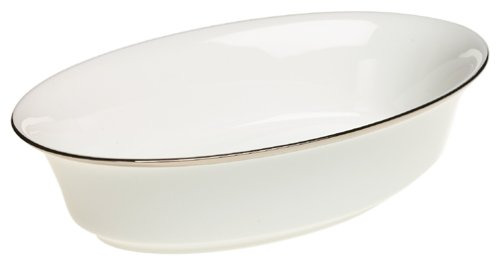 Lenox Solitaire White Platinum-Banded Bone China 10-3/4-Inch Open Vegetable Bowl