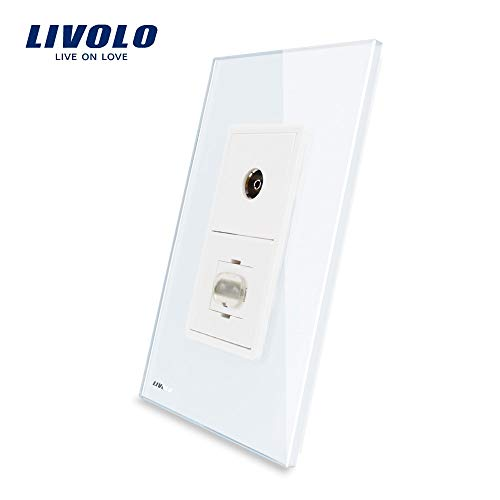 Socket Dvi (SOMITI | Electrical Sockets | NewUS Standard Luxur TV & HDMI Socket with White Pearl Crystal Glass VL|C591VHD|11)