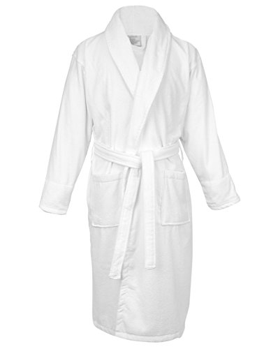 BC BARE COTTON 100% Turkish Cotton Men Terry Velour Shawl Robe, One Size, White Cotton Terry Velour Shawl
