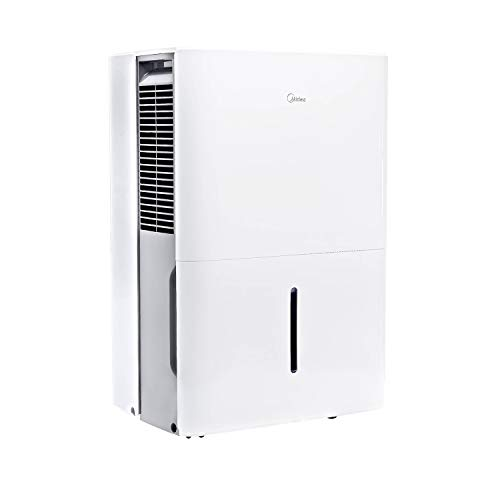 MIDEA MAD50C1YWS Dehumidifier 50 Pint with Reusable Filter, Ideal for basements, bedroom, bathroom, with bucket of 1.6 gallon