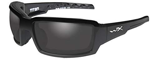 WileyX TITAN Safety Glasses Unisex Full Rimmed Plastic Frames in Wraparound Shape Offered in Polarized Smoke Grey Lens/Gloss Black Frame From Eyeweb