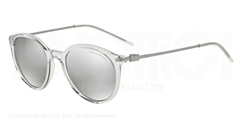 Armani EA4050F Sunglasses 53716G-50 - Transparent Frame, Light Grey Mirror - Ea Sunglasses