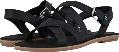 TOMS Women's Sicily Black Leather 6 B US
