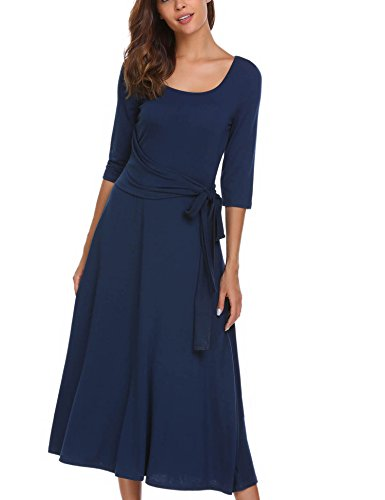blue a line dress with sleeves - 1