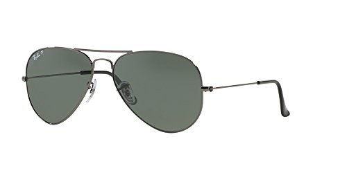 Ray-Ban Sunglasses - RB3025 Aviator Large Metal / Frame: Gunmetal Lens: Crystal Green Polarized (58 - Ban Sunglasses Prices Ray And
