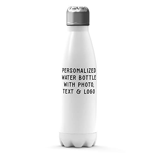 Customizable Water Bottle - 17 oz. Personalized Bottle w 2 Lids - Add Photo, Logo, or Text to Custom Mugs, Aluminum, Tazas Personalizadas, Monogram Novelty Bottle, Great Gift Idea -