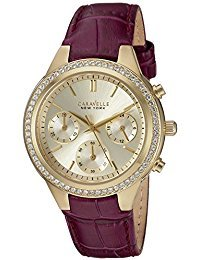 Caravelle New York Women's Quartz Stainless Steel and Leather Casual Watch, Color:Purple (Model: 44L182)