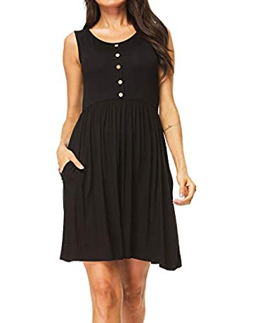 25d6626d I2CRAZY Women's Casual Dress Pleated Loose Swing T-Shirt Dresses with  Pockets Knee Length …