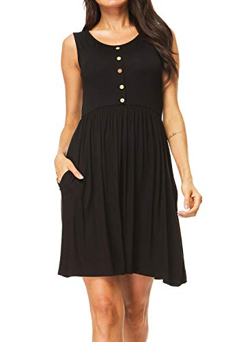 I2CRAZY Women's Casual Dress Pleated Loose Swing T-Shirt Dresses with Pockets Knee Length