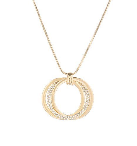 VUJANTIRY Long Necklace for Women Triple Circle Pendant Necklace Crystal Interlocking Pendants Lariat Necklace