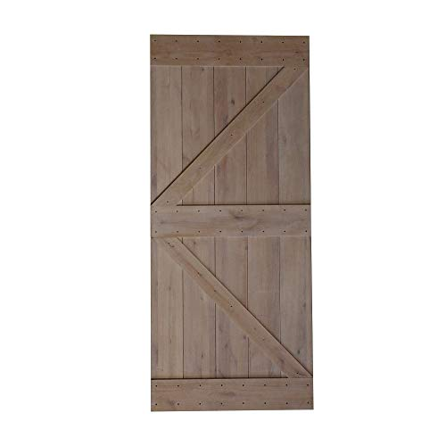36x84 inches DIY Natural Sturdy Knotty Alder Wood Shiny Primer Sliding Barn Door Slab,Arrow