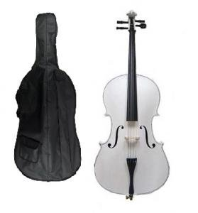 Merano 4/4 Full Size White Cello with Hard Case, Bag and Bow+2 Sets of Strings+Cello Stand+Black Music Stand+Metro Tuner+Mute+Rosin by Merano (Image #2)