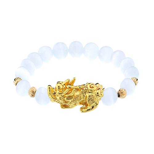 Prime Feng Shui Bracelet Natural Tiger Eye Bead Bracelet with Gold Plated Pi Xiu/Pi Yao Attract Wealth and Good Luck Amulet Gift(White M)