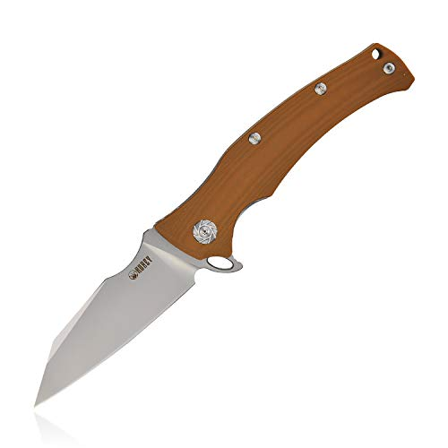 KUBEY KU214 Camping Folding Knife G10 Handle and D2 Blade Flipper Pocket Outdoor Tactical Hunting Survival Every Day Carry Tool Knives with Liner Lock (Tan) (Ceramic Liner Lock Knife)