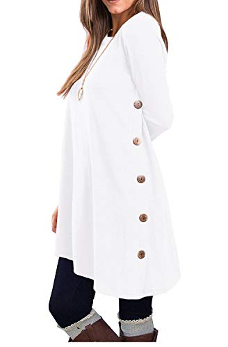 KORSIS Women's Long Sleeve Round Neck Button Side T Shirts Tunic Dress White XXL (Sweater Boots Dresses)