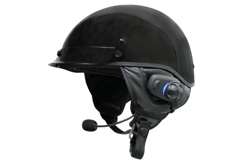 Sena Bluetooth Stereo Headset and Intercom with Built-in FM Tuner for Half Helmets (Best Motorcycle Helmet With Built In Speakers)