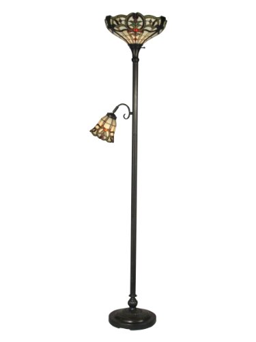Dale Tiffany TR10022 Torchiere Lamp, Stand, Mica Bronze and Art Glass Shade