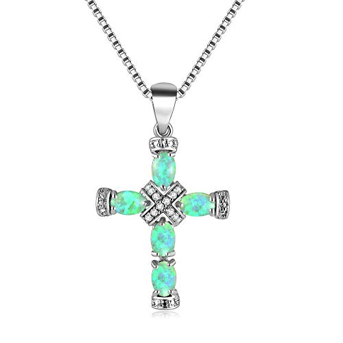 Cross Oval Pendant Necklace - CiNily Green Opal Cross Pendant Necklace 18K White Gold Plated Zircon Cross Chain with Pendant Women Jewelry Luxury Gemstone Pendant Necklace