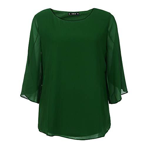 Manches Mode Solide Haut Chemisier de Soie Femmes Vert Shirt MORCHAN Champion Trois Quarts Mousseline T aEWqxBXwnS