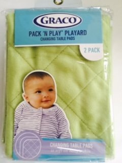 Graco Pack 'n Play Play Yard Quilted Changing Pad Cover - Green Tarragon, Set of 2