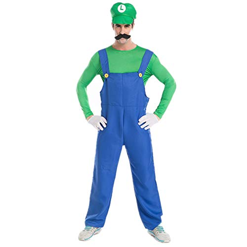 WSSHA Halloween Men's Mario and Luigi Costome Green Size L
