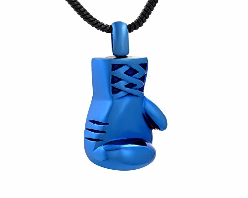 Laceta's Keepsakes Boxing Gloves Cremation Jewelry Collection Urn Necklace Memorial Ashes Holder (Blue)