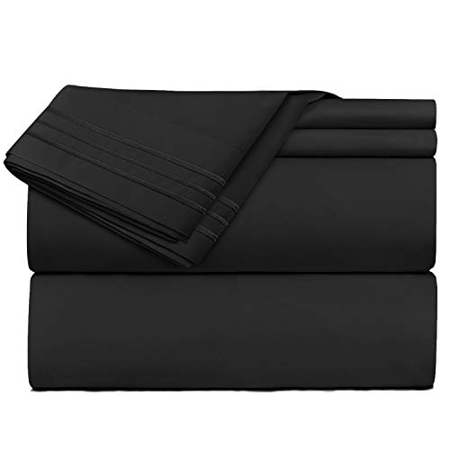Nestl Bedding 4 Piece Sheet Set - 1800 Deep Pocket Bed Sheet Set - Hotel Luxury Double Brushed Microfiber Sheets - Deep Pocket Fitted Sheet, Flat Sheet, Pillow Cases, Full XL - Black