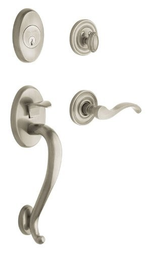 Baldwin Estate Collection Logan Double Cylinder Satin Nickel Left-Handed Handleset with Wave Lever