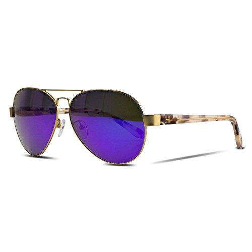 Orange Hudson Sunglasses Aviator Matte Gold Metal Frame with Pink Crystal Acetate Legs, Purple Mirror Lenses 100% UV Block - Galápagos - Purple Aviators