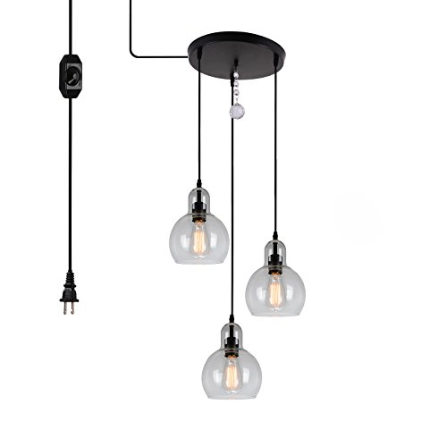 16' Swag Hanging Lamp Light (HMVPL 3-Lights Antique Glass Chandelier Pendant Light with 16 Ft Plug-in Hanging Cord and in-line on/off Dimmer Switch, Classic Rustic Lighting Fixture for Entryways, Dining Room (Max 120W))