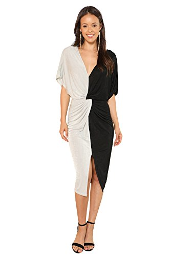 Floerns Women's Short Sleeve V Neck Twist Front Split Midi Dress Black and White M