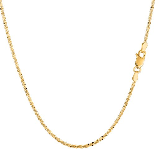 14k Yellow Gold Sparkle Chain Necklace, 1.5mm, (Yellow Gold Sparkle)