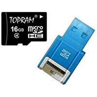 Topram 16GB Class 4 MicroSDHC Card with SD Adapter and R10B Micro USB Flash Card Reader / Writer.