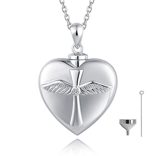 BEILIN 925 Sterling Silver Angel Wings Cross Urn Pendant Necklace Keepsake Memorial Heart Cremation Jewelry for Ashes: God has You in his arms I Have You in My Heart ()