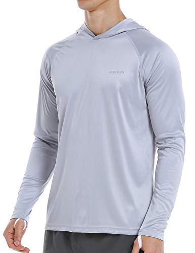EZRUN Mens UPF 50+ UV Protection Shirts Long Sleeve Sun Fishing Shirts for Men(Grey,L)
