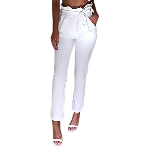 - Roselux Women's Slim High Waist Tie Front Long Pants with Pockets(White,L)