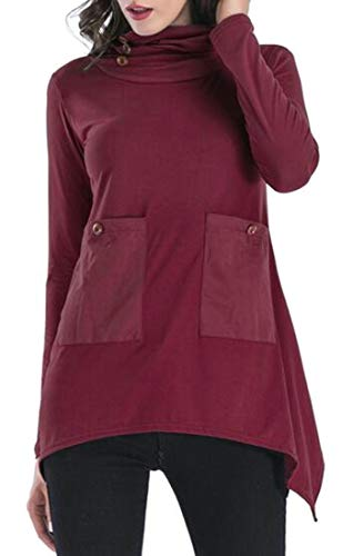 WSPLYSPJY Womens Long Sleeve Solid Palin Pullover Blouse Loose Solid Tops Wine Red L