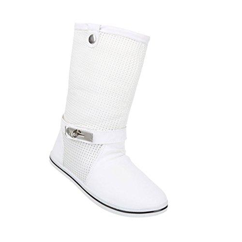 Damen Schuhe Stiefel Boots Weiß
