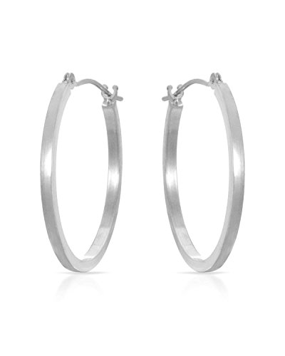 MCS Jewelry 14 Karat White Gold Square Tube Hoop Earrings (Diameter: 24 mm)