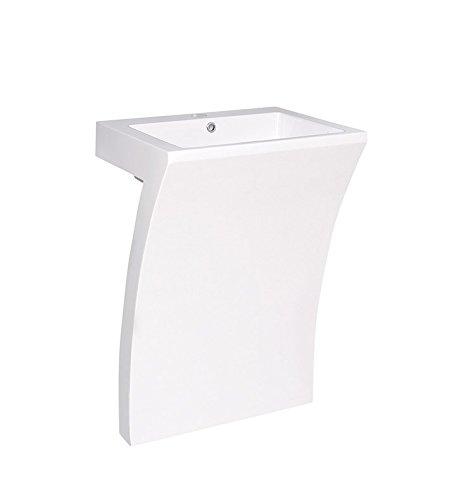 - Fresca Quadro White Pedestal Sink