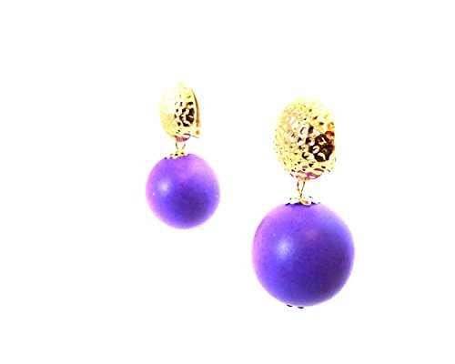 Drop Earrings Assorted Colours - Clip-on Earrings Bohemian Drop Ball Earrings Assorted Colors 1 inch Gold Tone Clips (Purple)
