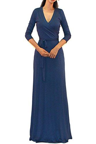 Long Wrap Dress - Vivicastle Women's Solid V-Neck 3/4 Sleeve Faux Wrap Waist Long Maxi Dress (Medium, Denim)