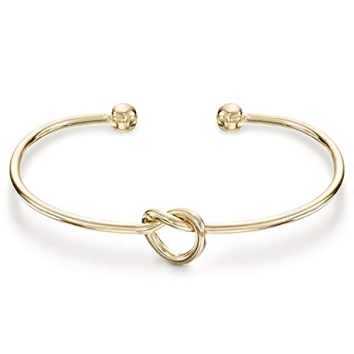 (PAVOI 14K Yellow Gold Plated Adjustable Infinity Forever Love Knot Bracelet Bangle)