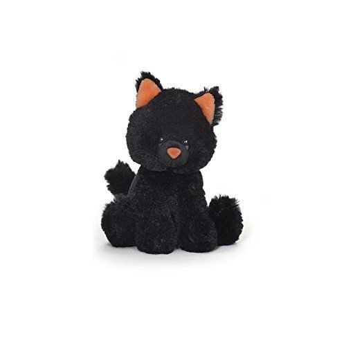 Gund Midnight Meows Black Cat Orange Nose and Ears Sound Toy Halloween Plush New -
