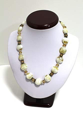 (Handmade Gorgeous Vintage Murano Italian White Amber Crystal Glass Bead 19