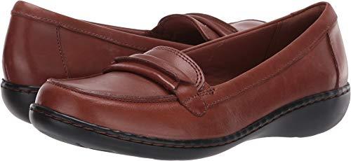 - CLARKS Women's Ashland Lily Loafer,dark tan leather,7.5 W US