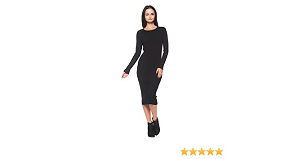 7491fd6731 Women's Black Ribbed Knit Slim-Fit Stretch Scoop Neck Bodycon Midi Sweater  Dress: Amazon.ca: Clothing & Accessories